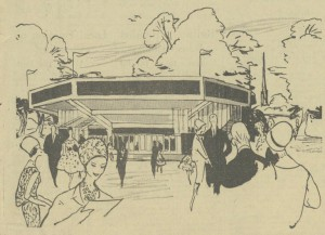 Illustration of the proposed Chichester Festival Theatre building from The Daily Telegraph 1961