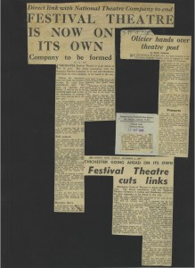 Newspaper articles relating to the splitting of Chichester Festival theatre and the National Theatre Companies. (Click to view bigger version)