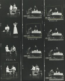 A contact sehet of production photos of The Seagull, 1973