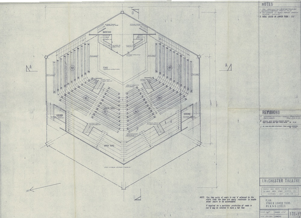 Blueprints festival theatre auditorium 1962 pass it on box 71 blue print of auditorium stage lower tiers h108xw150cm web blueprint malvernweather Images