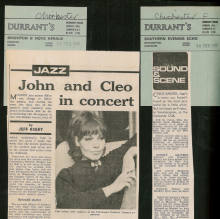 Page from press cuttings scrapbook - John Danworth, Cleo Laine- 1970 - Box 208 v3