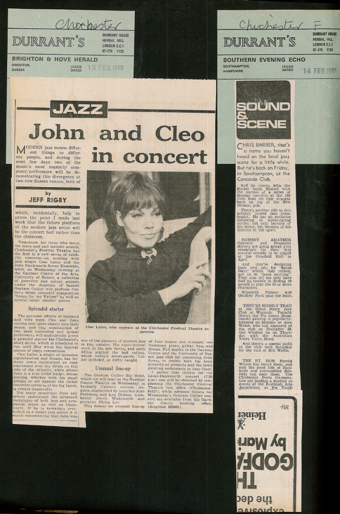 Page from press cuttings scrapbook - John Danworth, Cleo Laine- 1970 - Box 208