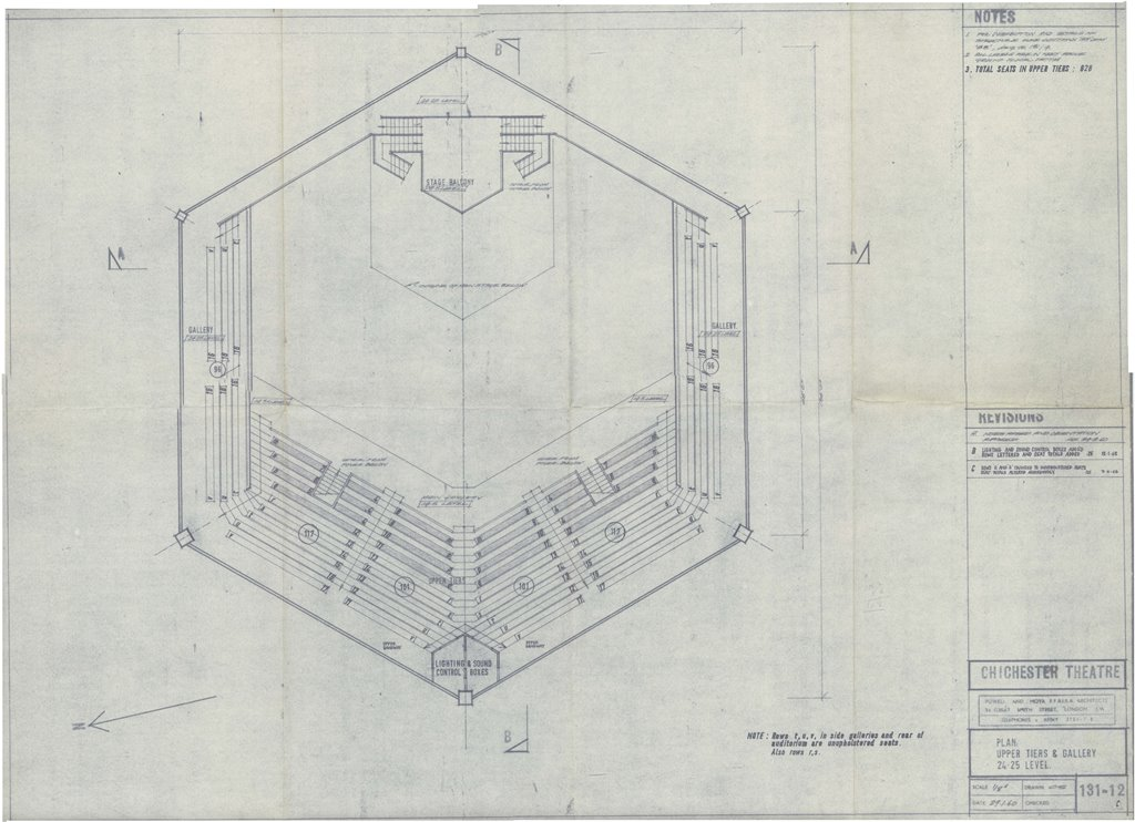 Blueprints festival theatre auditorium 1962 pass it on blueprint upper tiers powell and moya 21 jan 1960 cft wsro web malvernweather Images