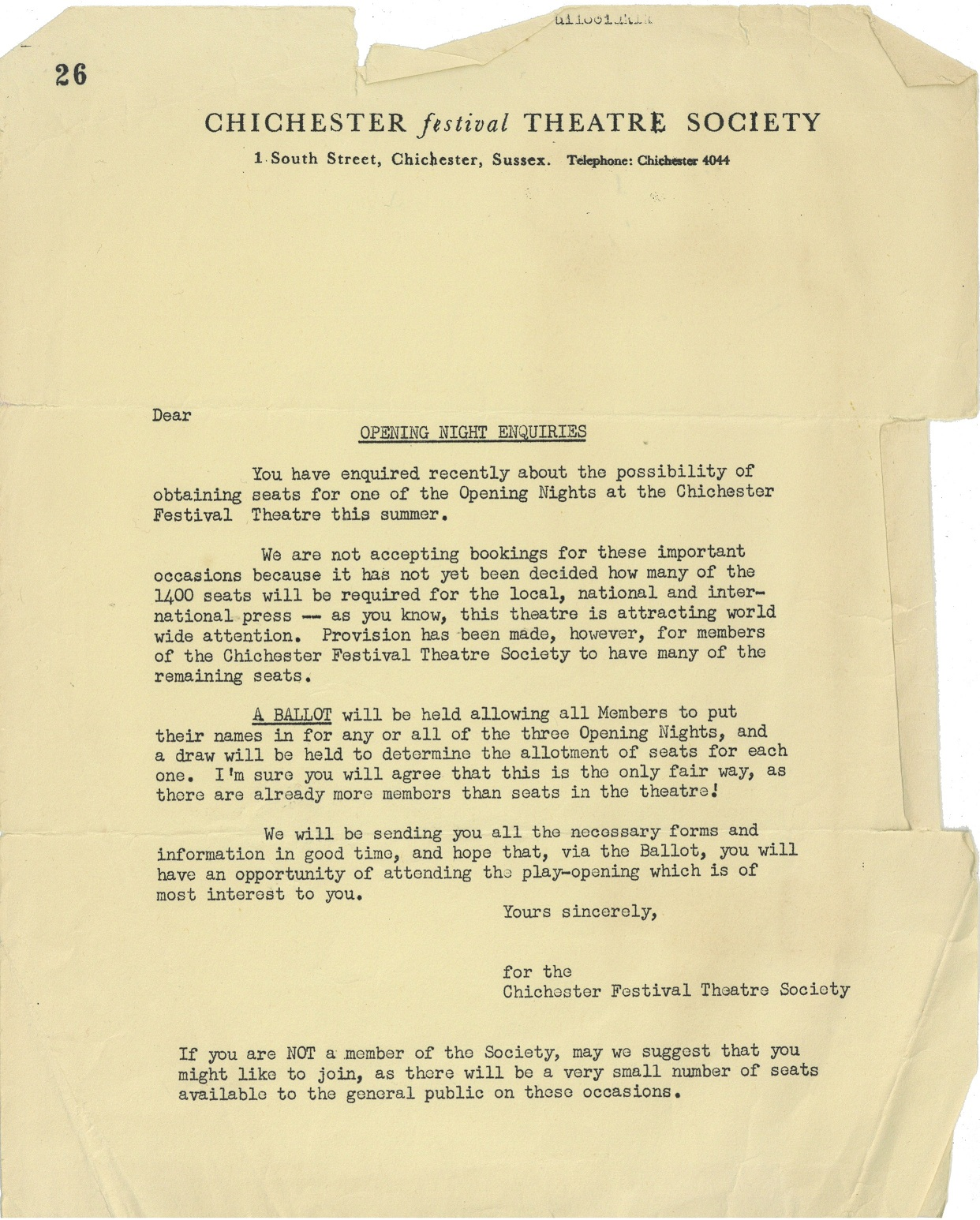 Letter about ballot for opening night seats - Theatre Society - 1962 - Gibbons Collection