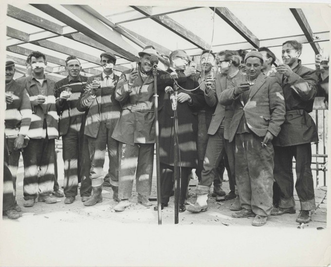 Photograph Topping Out Ceremony - Exterior Festival Theatre - Laurence Olivier - Photographer unknown - 23 Nov 1961 - Box 71 CFT WSRO