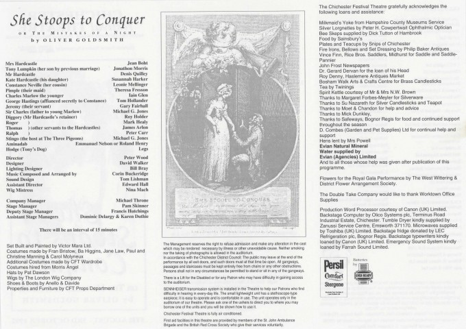 Cast List - She Stoops to Conquer - 1992 - Ralph Ansley collection - H21cm W29.8cm - 2 of 2