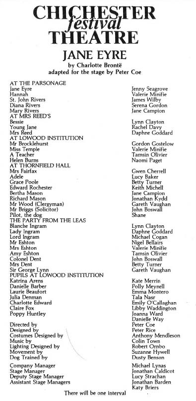 Cast list Jane Eyre - 22 Jul 1986 - CFT WSRO