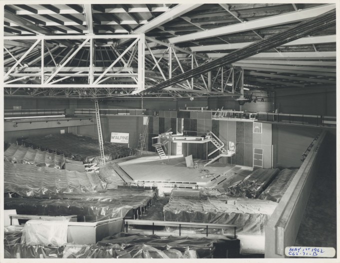 Photograph Auditorium construction - Photographer Charles Howard - 01 May 1962 - Box 71 CFT WSRO H16.5xW21.2cm - 1 of 2