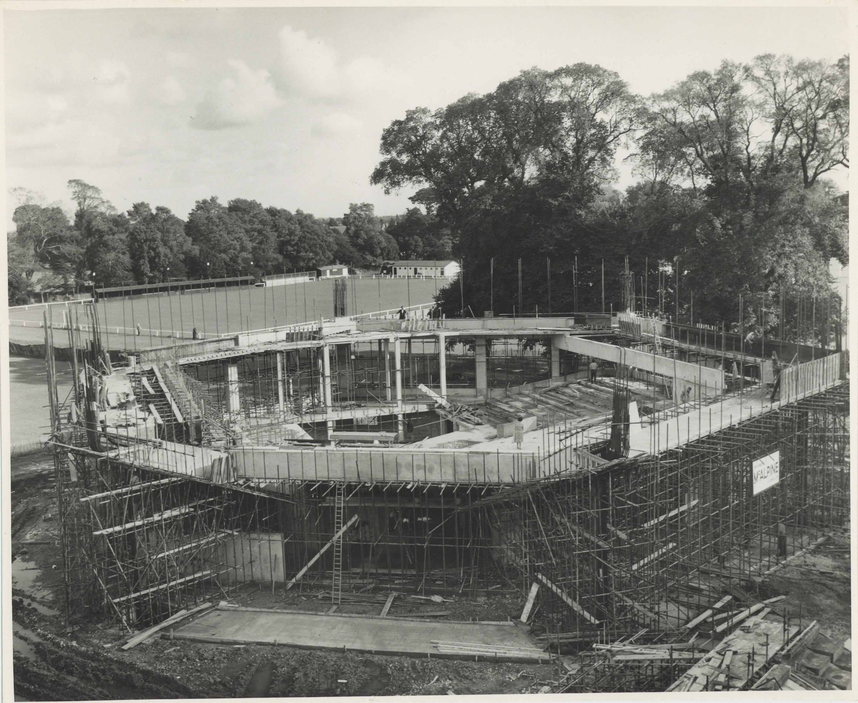 Photograph Construction Aerial Cantilever Exterior Festival Theatre - Photographer unknown - 1960s - Box 71 CFT WSRO