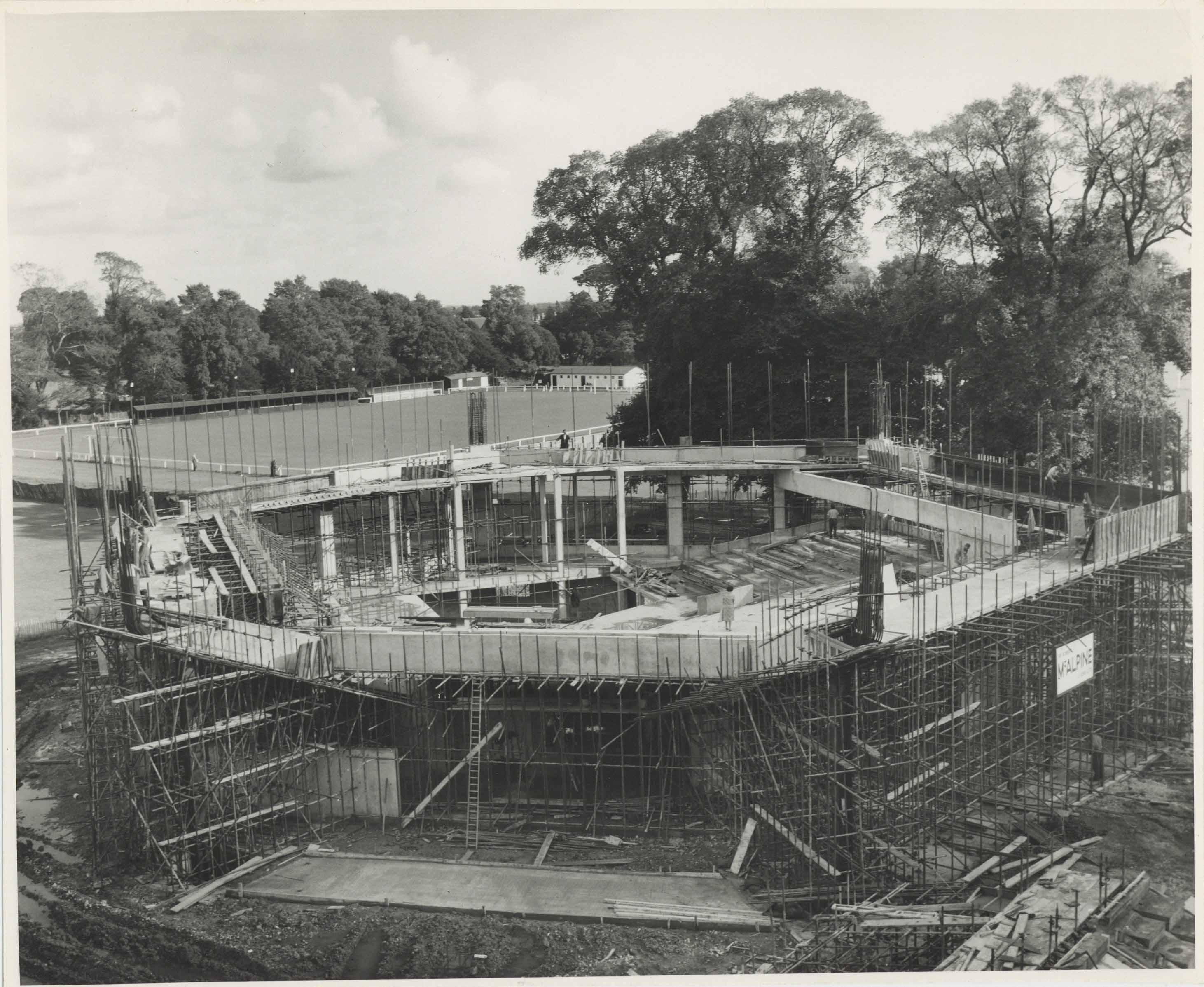 Photograph Construction Aerial Cantilever Exterior Festival Theatre - Photographer unknown - 1960s - Box 71 CFT WSRO