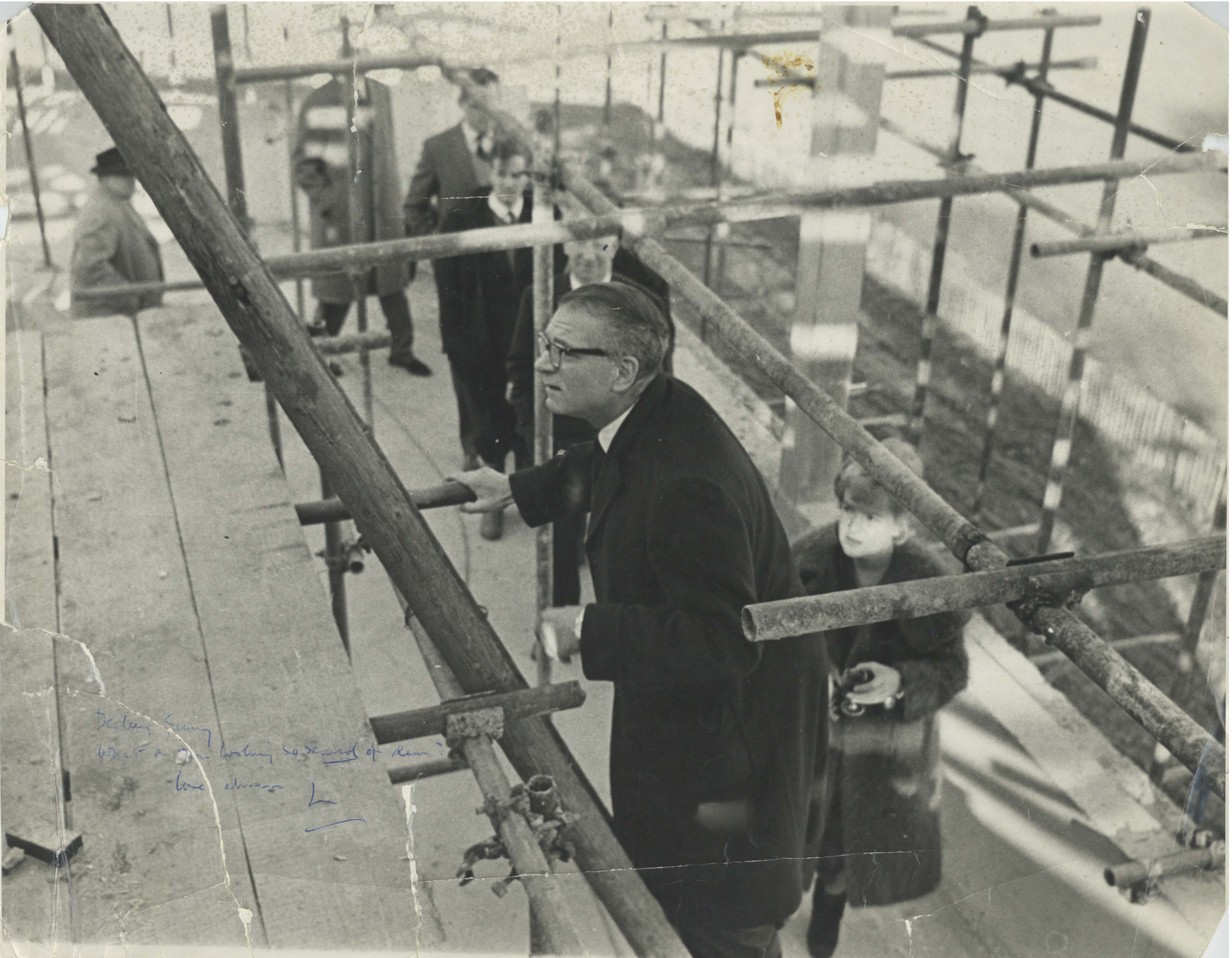 Photograph of Topping Out Ceremony - Signed by Laurence Olivier - 1962 - Memorabilia Collection