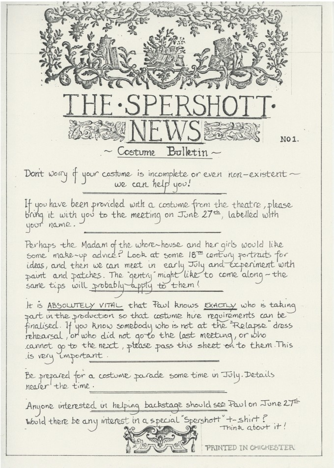 The Spershott Version 1986 Costume bulletin