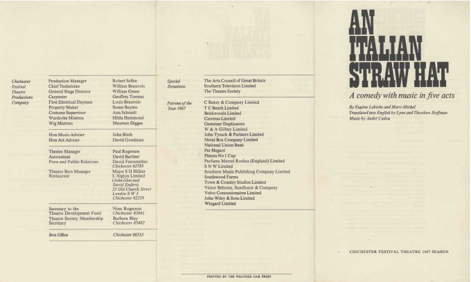 Cast List - An Italian Straw Hat - 1967 - 1 of 2