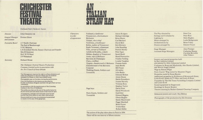 Cast List - An Italian Straw Hat - 1967 - 2 of 2