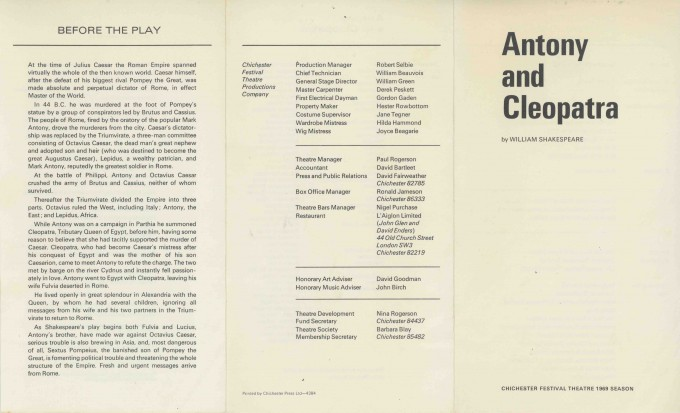 Cast List - Antony and Cleopatra - 1969 - 1 of 2