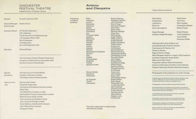 Cast List - Antony and Cleopatra - 1969 - 2 of 2