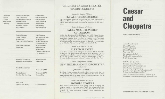 Cast List  - Caesar  and Cleopatra - 1971- 1 of 2