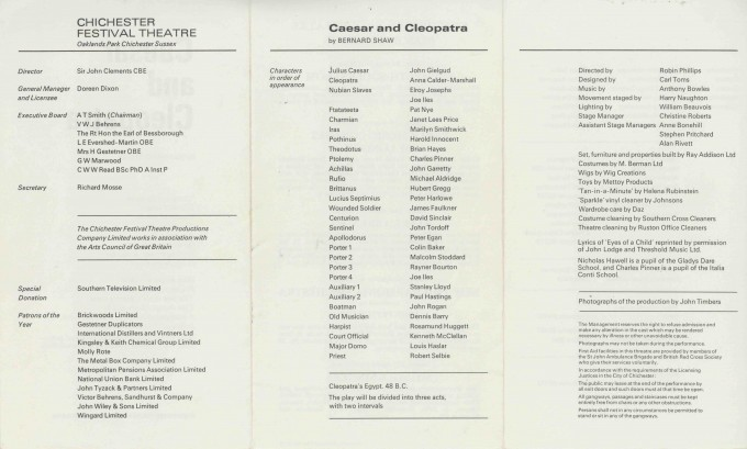Cast List  - Caesar  and Cleopatra - 1971- 2 of 2