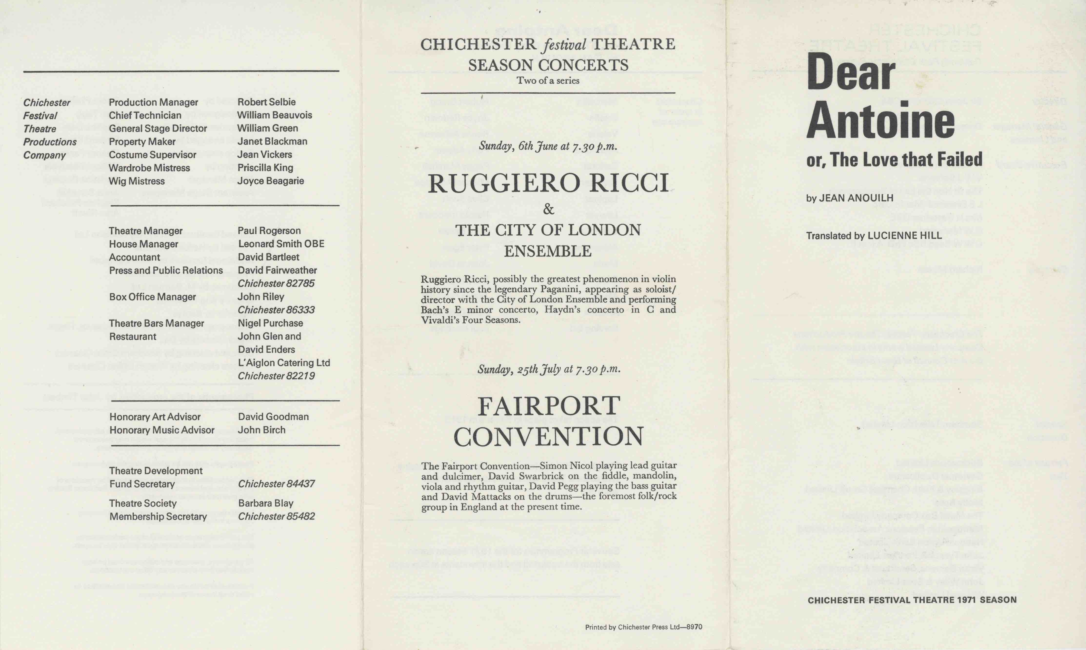 Cast List  - Dear Antoine   - 1971- 1 of 2