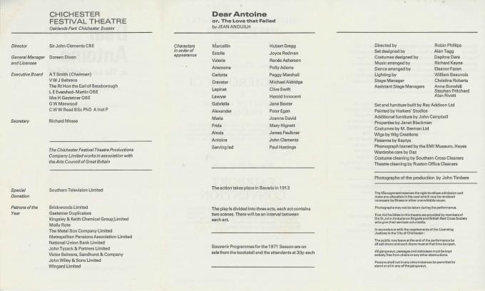 Cast List  - Dear Antoine   - 1971- 2 of 2