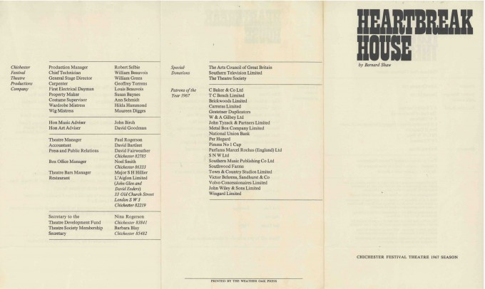 Cast List - Heartbreak House - 1967 - 1 of 2