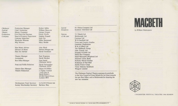 Cast List - Macbeth - 1966 - 1 of 2