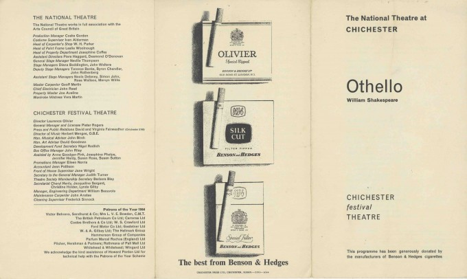 Cast List - Othello - 1964 - 1 of 2