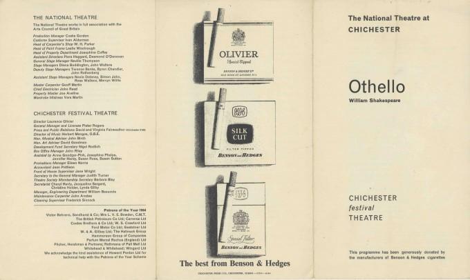 Cast List - Othello - 1964 - 1 of 2