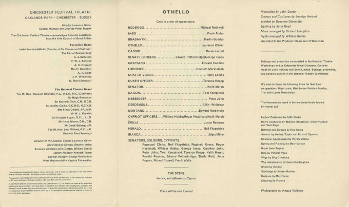 Cast List - Othello - 1964 - 2 of 2
