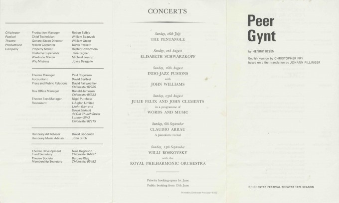 Cast List  - Peer Gynt - 1970 - 1 of 2