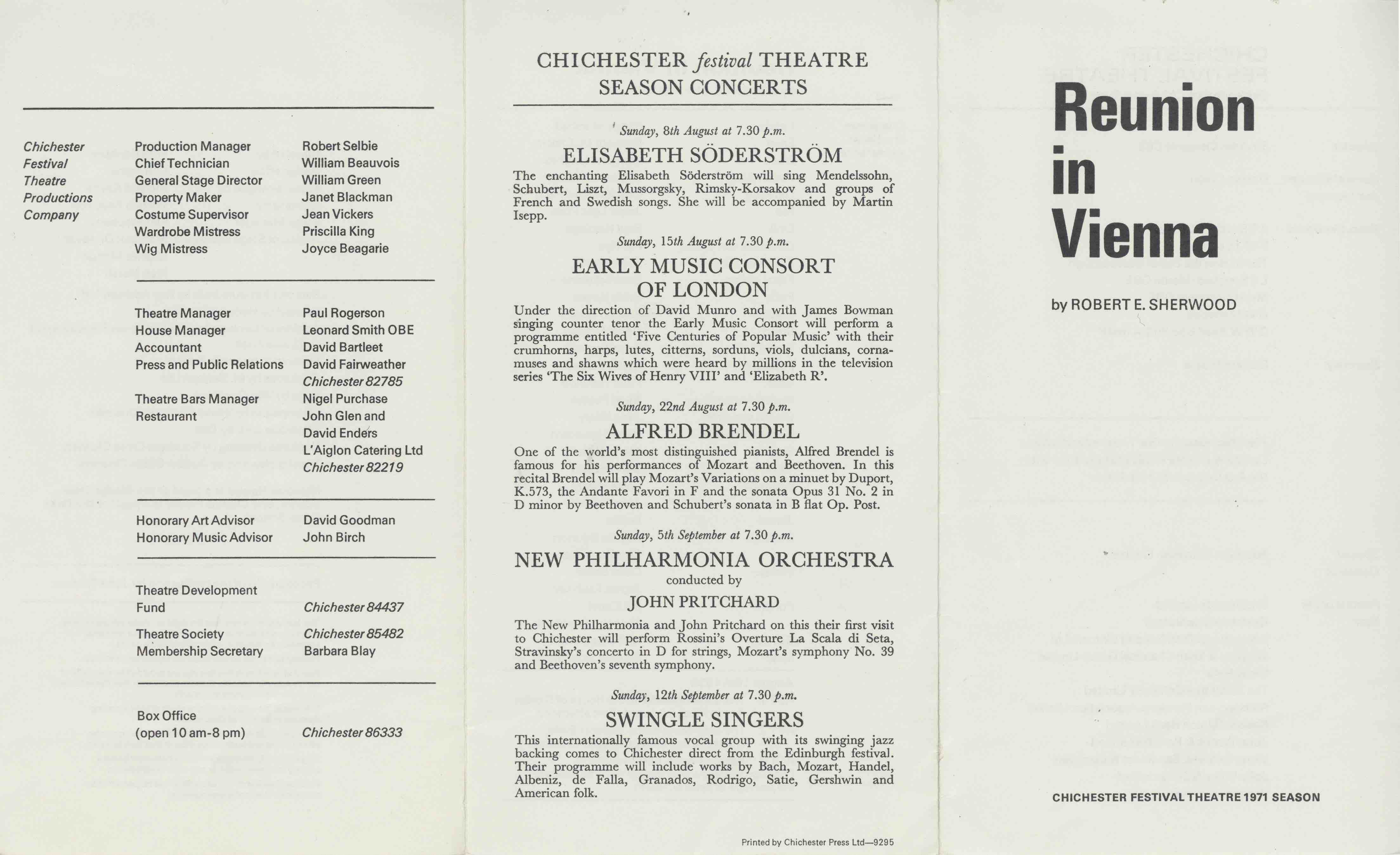 Cast List  - Reunion in Vienna  - 1971- 1 of 2