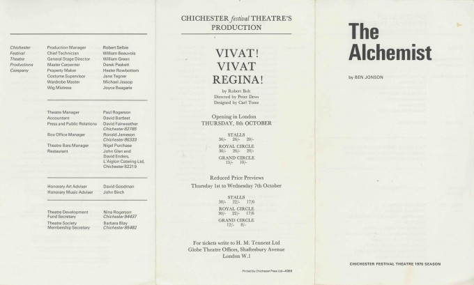 Cast List - The Alchemist - 1970 - 1 of 2