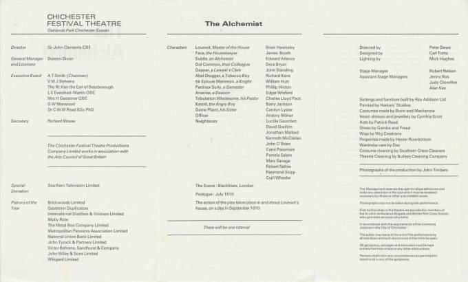 Cast List - The Alchemist - 1970 - 2 of 2