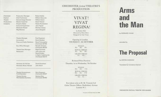 Cast List - The Arms and the Man. The Proposal - 1970 - 1 of 2