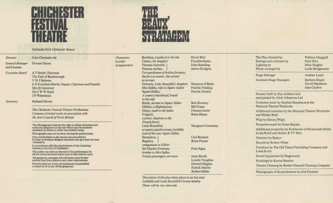 Cast List - The Beaux' Stratagem - 1967- 1 of 2