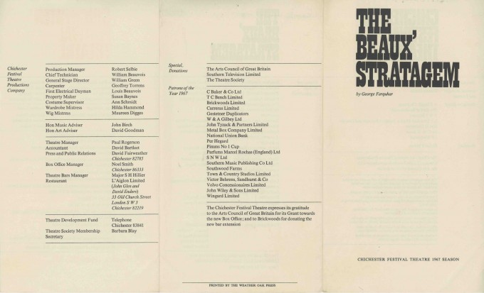 Cast List - The Beaux' Stratagem - 1967 - 2 of 2