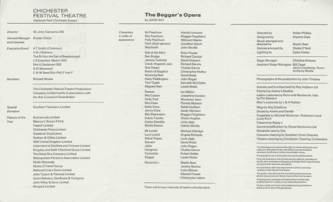 Cast List  - The Beggar's Opera  - 1971 - 2 of 2