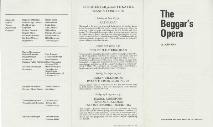 Cast List  - The Beggar's Opera  - 1972 - 1 of 2