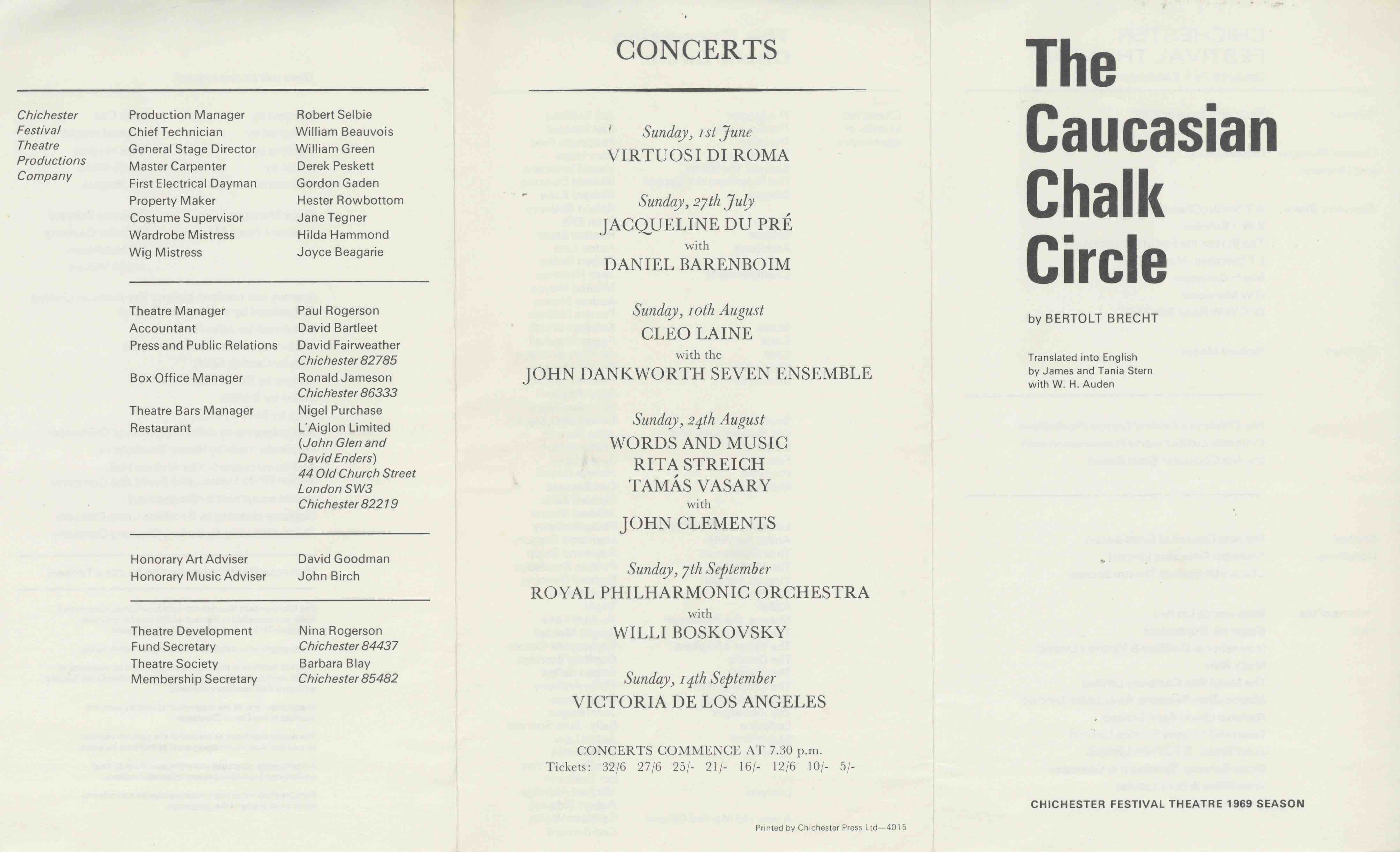 Cast List - The Caucasian Chalk Circle - 1969 - 1 of 2