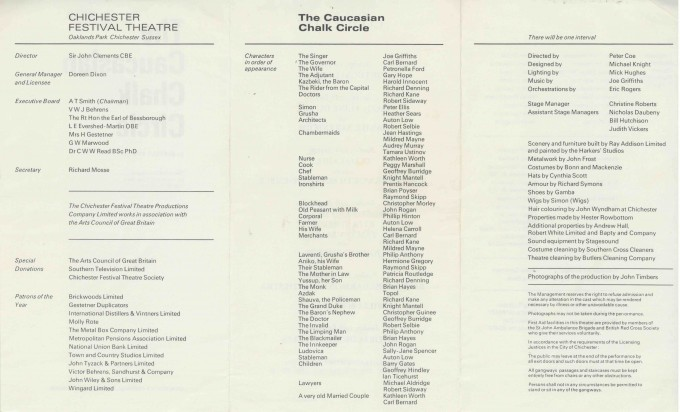 Cast List - The Caucasian Chalk Circle - 1969 - 2 of 2