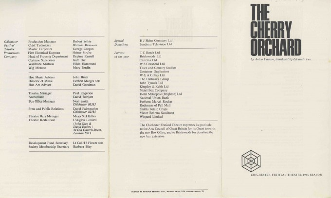 Cast List - The Cherry Orchard - 1966 - 1 of 2