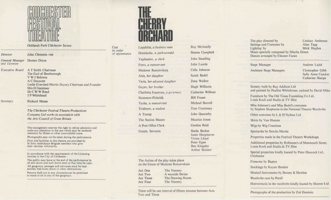 Cast List - The Cherry Orchard - 1966 - 2 of 2