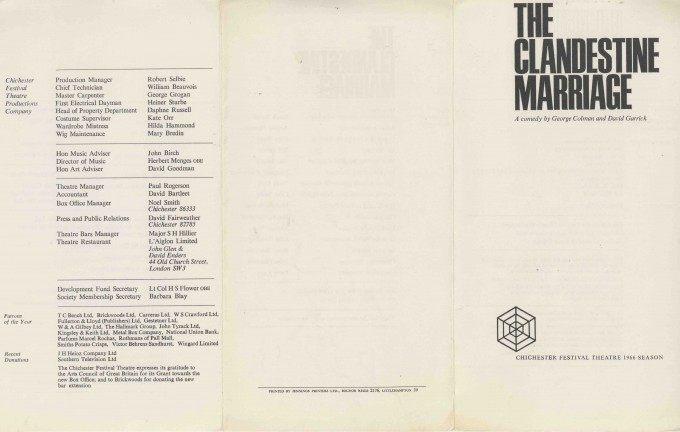 Cast List - The Clandestine Marriage - 1966 - 1 of 2