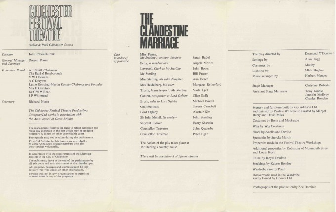 Cast List - The Clandestine Marriage - 1966 - 2 of 2