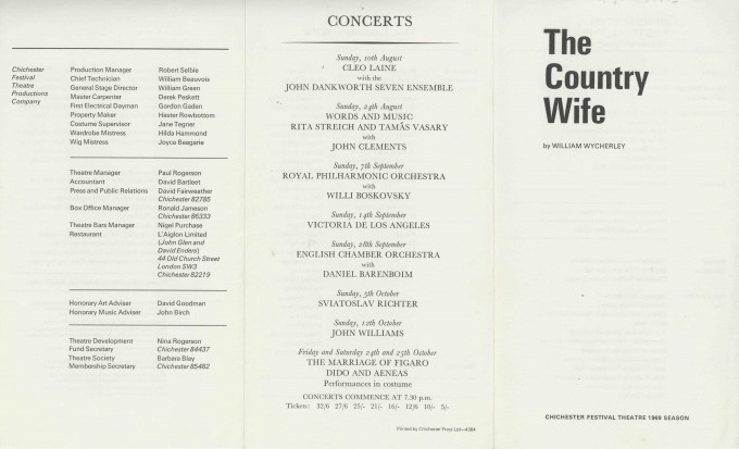 Cast List - The Country Wife - 1969 - 1 of 2