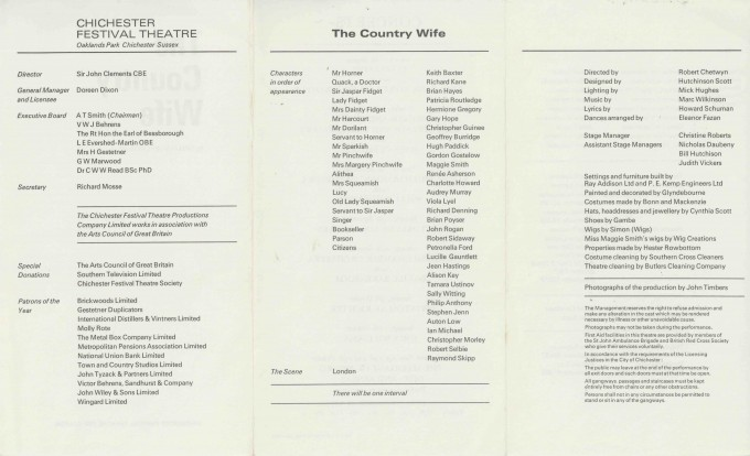 Cast List - The Country Wife - 1969 - 2of 2