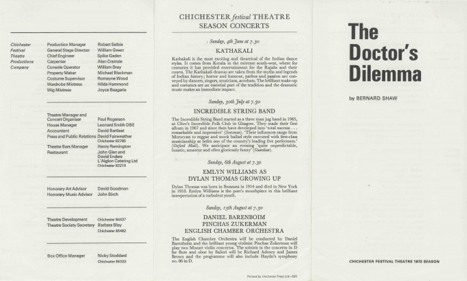 Cast List  - The Doctor's Dilemma  - 1972 - 1 of 2