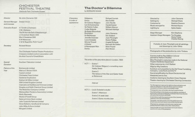 Cast List  - The Doctor's Dilemma  - 1972 - 2 of 2