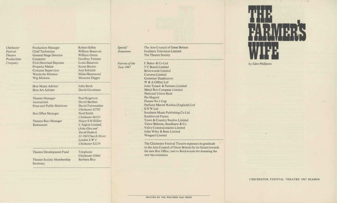 Cast List - The Farmer's Wife - 1967 - 1 of 2