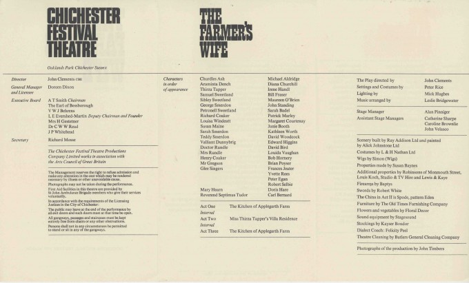 Cast List - The Farmer's Wife - 1967 - 2 of 2
